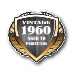 1960 Year Dated Vintage Shield Retro Vinyl Car Motorcycle Cafe Racer Helmet Car Sticker 100x90mm